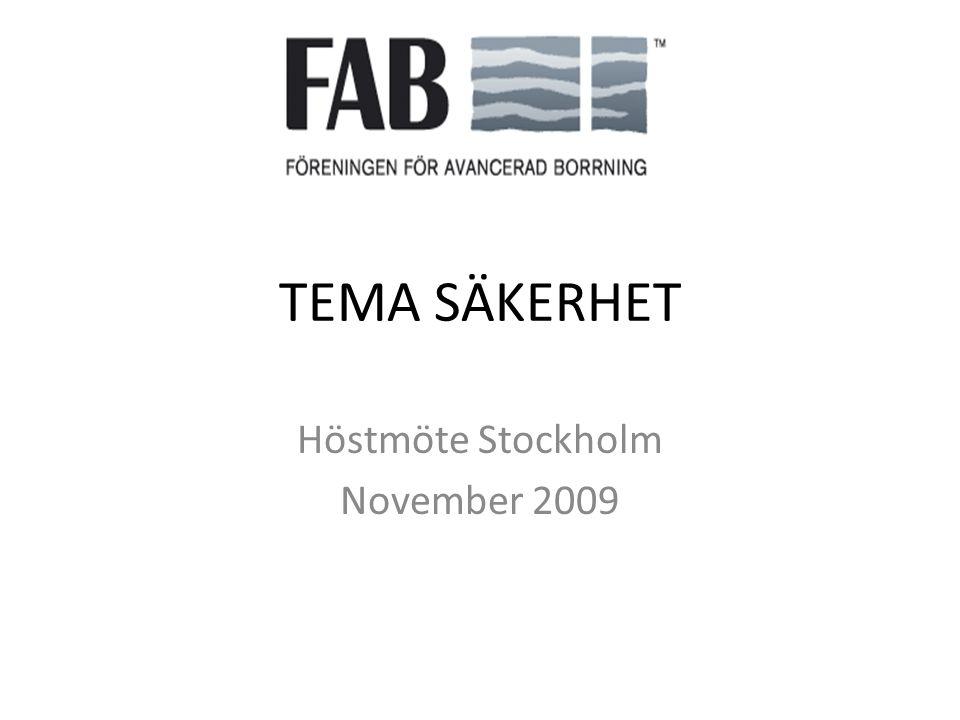 TEMA SÄKERHET Höstmöte Stockholm November 2009