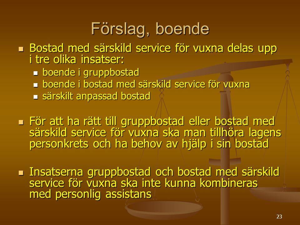 23 Förslag, boende Bostad med särskild service för vuxna delas upp i tre olika insatser: Bostad med särskild service för vuxna delas upp i tre olika i