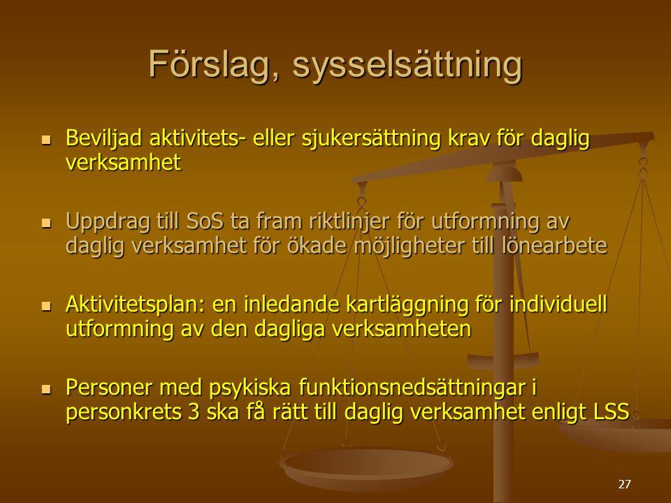 27 Förslag, sysselsättning Beviljad aktivitets- eller sjukersättning krav för daglig verksamhet Beviljad aktivitets- eller sjukersättning krav för dag