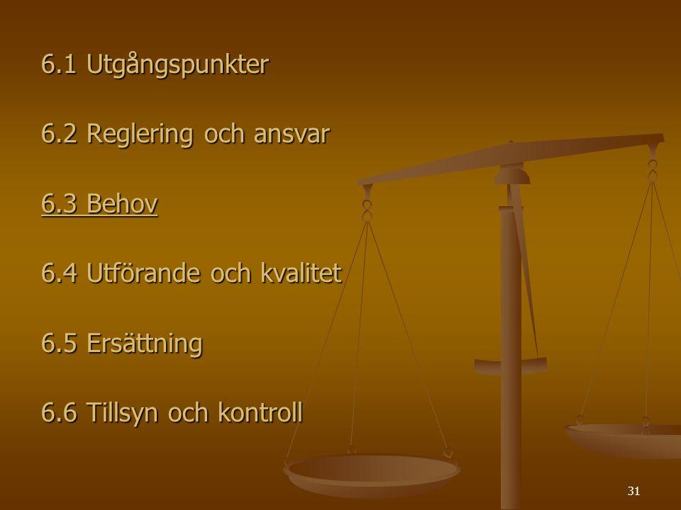 31 6.1 Utgångspunkter 6.2 Reglering och ansvar 6.3 Behov 6.4 Utförande och kvalitet 6.5 Ersättning 6.6 Tillsyn och kontroll