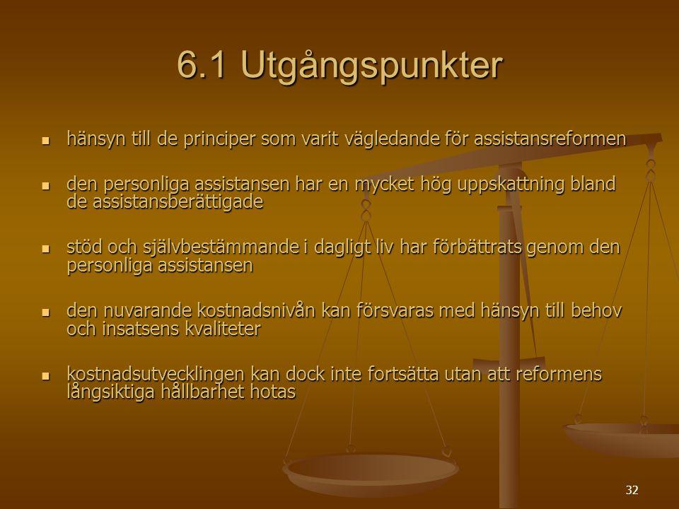 32 6.1 Utgångspunkter hänsyn till de principer som varit vägledande för assistansreformen hänsyn till de principer som varit vägledande för assistansr