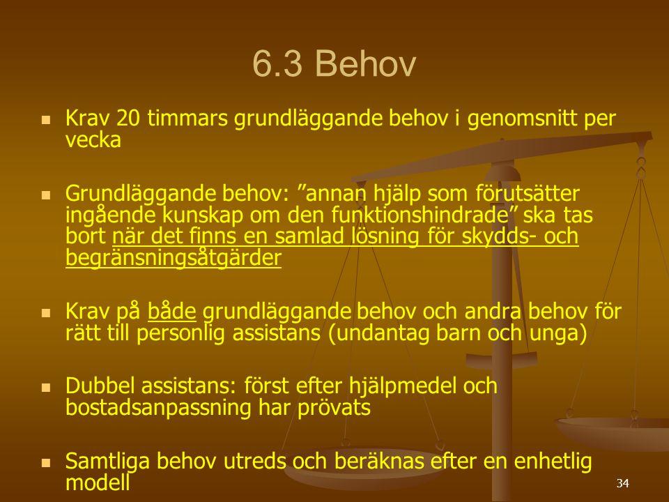 """34 6.3 Behov Krav 20 timmars grundläggande behov i genomsnitt per vecka Grundläggande behov: """"annan hjälp som förutsätter ingående kunskap om den funk"""