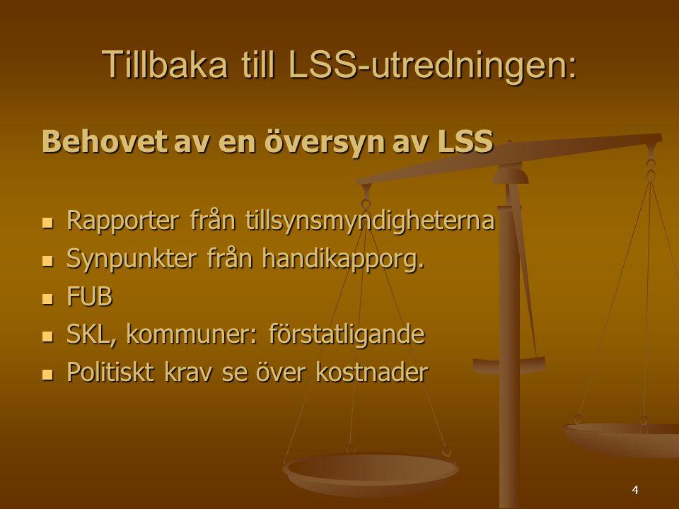 4 Tillbaka till LSS-utredningen: Behovet av en översyn av LSS Rapporter från tillsynsmyndigheterna Rapporter från tillsynsmyndigheterna Synpunkter frå