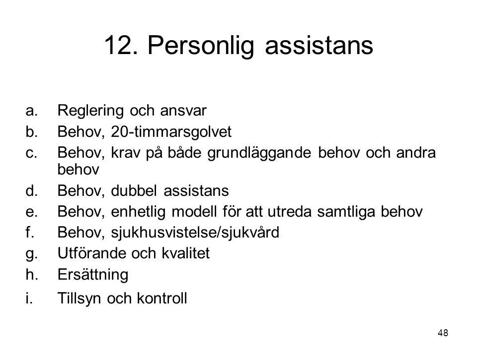 48 12. Personlig assistans a.Reglering och ansvar b.Behov, 20-timmarsgolvet c.Behov, krav på både grundläggande behov och andra behov d.Behov, dubbel
