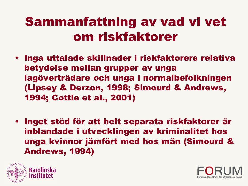 Sammanfattning av vad vi vet om riskfaktorer Inga uttalade skillnader i riskfaktorers relativa betydelse mellan grupper av unga lagöverträdare och ung
