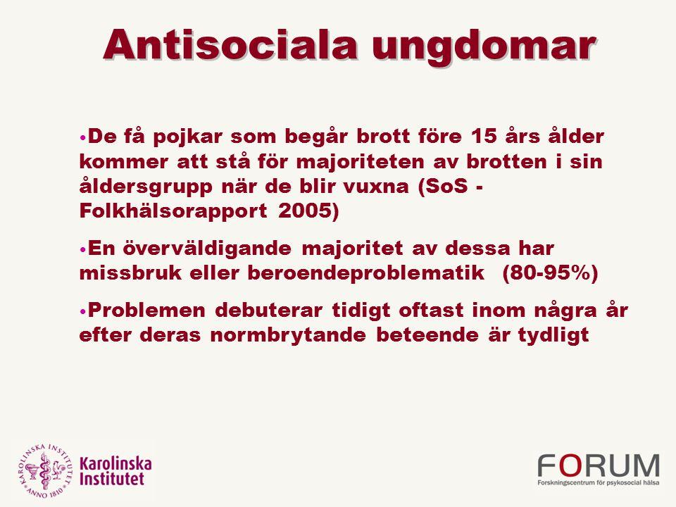 Antisociala ungdomar De få pojkar som begår brott före 15 års ålder kommer att stå för majoriteten av brotten i sin åldersgrupp när de blir vuxna (SoS