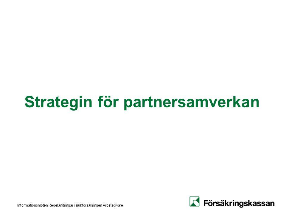 Informationsmöten Regeländringar i sjukförsäkringen Arbetsgivare Strategin för partnersamverkan