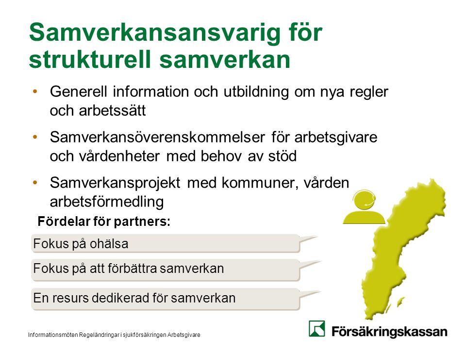 Informationsmöten Regeländringar i sjukförsäkringen Arbetsgivare Samverkansansvarig för strukturell samverkan Generell information och utbildning om n