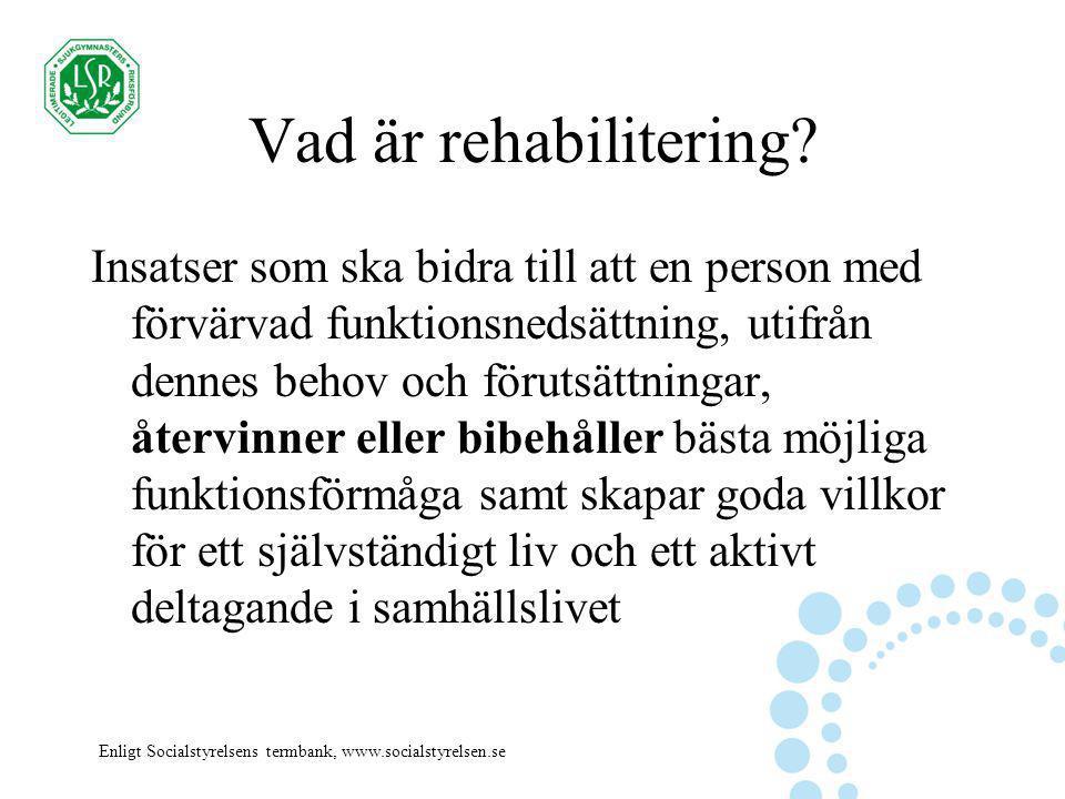 Vad är rehabilitering? Insatser som ska bidra till att en person med förvärvad funktionsnedsättning, utifrån dennes behov och förutsättningar, återvin