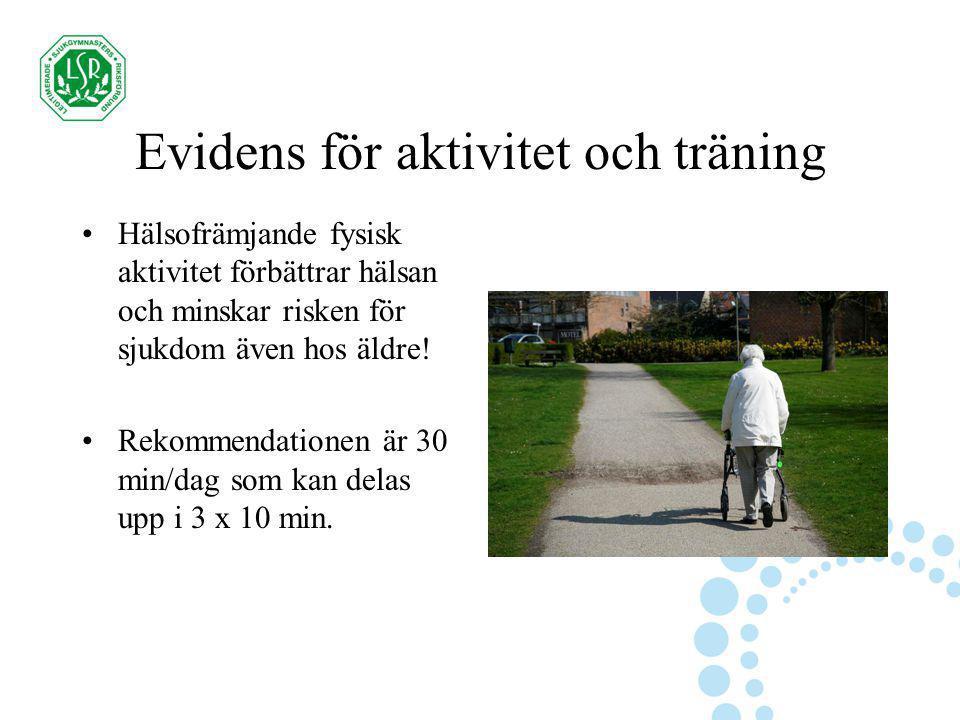 Evidens för aktivitet och träning Hälsofrämjande fysisk aktivitet förbättrar hälsan och minskar risken för sjukdom även hos äldre! Rekommendationen är