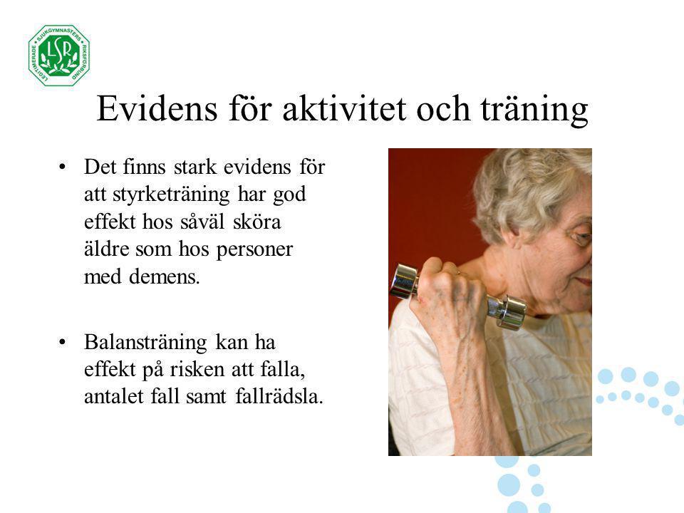 Evidens för aktivitet och träning Det finns stark evidens för att styrketräning har god effekt hos såväl sköra äldre som hos personer med demens. Bala