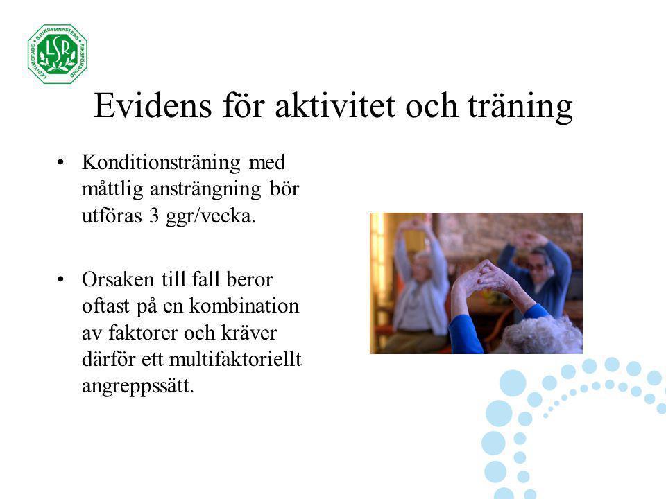 Evidens för aktivitet och träning Konditionsträning med måttlig ansträngning bör utföras 3 ggr/vecka. Orsaken till fall beror oftast på en kombination
