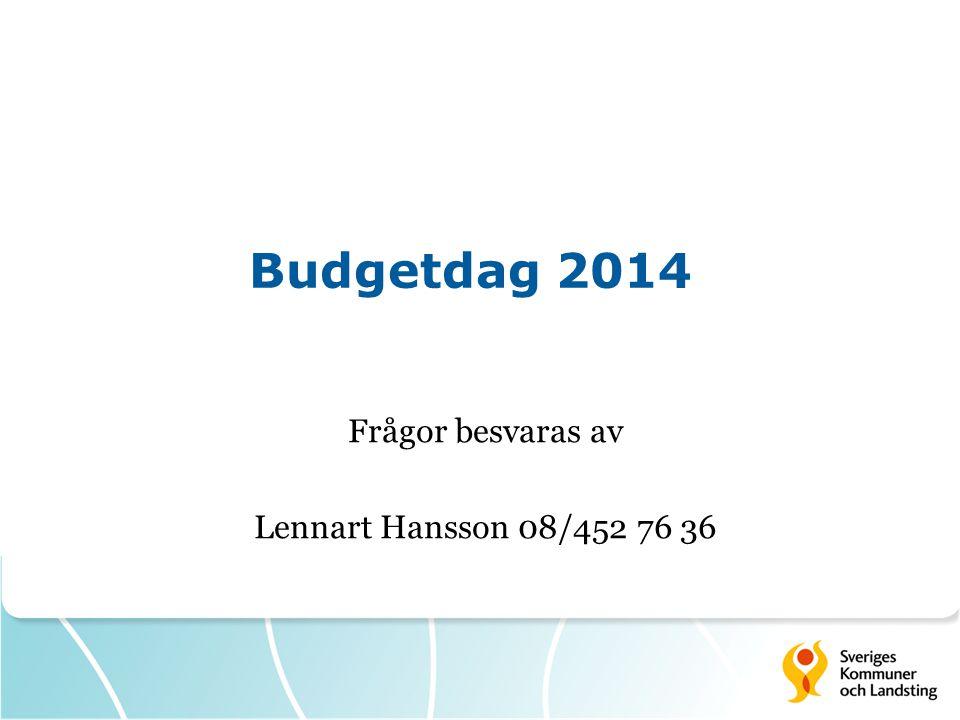 Budgetdag 2014 Frågor besvaras av Lennart Hansson 08/452 76 36