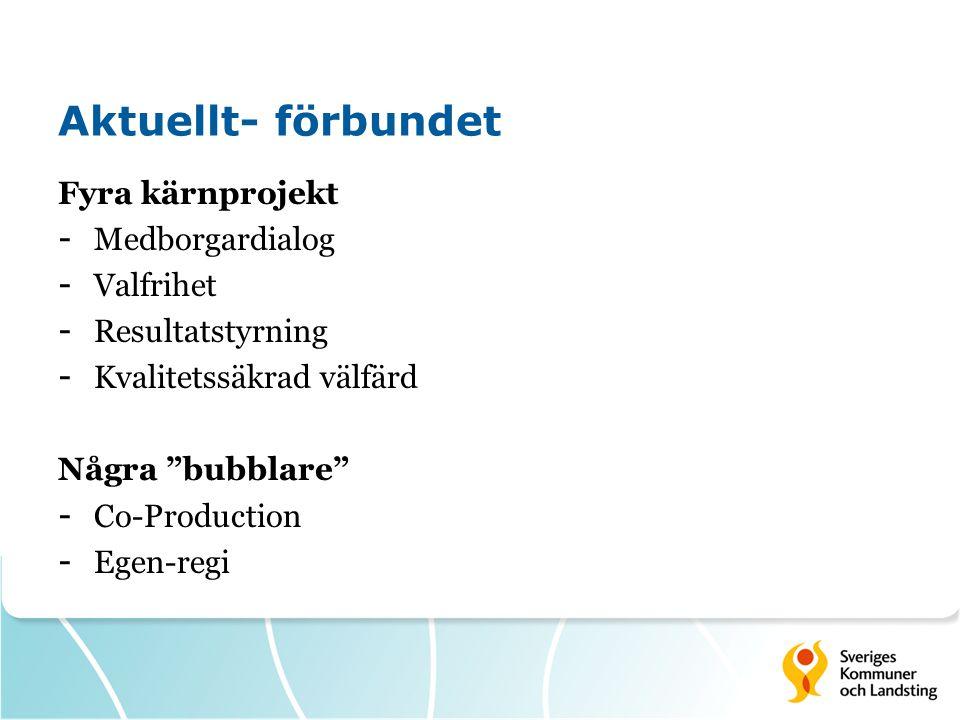 Aktuellt- förbundet Fyra kärnprojekt - Medborgardialog - Valfrihet - Resultatstyrning - Kvalitetssäkrad välfärd Några bubblare - Co-Production - Egen-regi