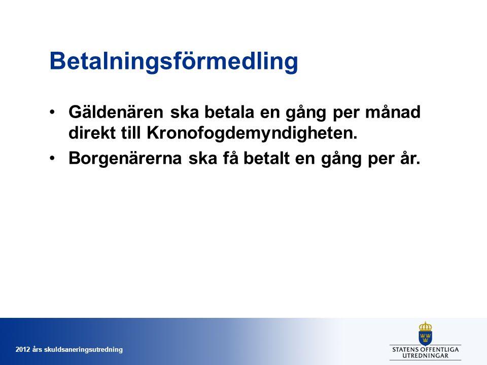 2012 års skuldsaneringsutredning Betalningsförmedling Gäldenären ska betala en gång per månad direkt till Kronofogdemyndigheten. Borgenärerna ska få b
