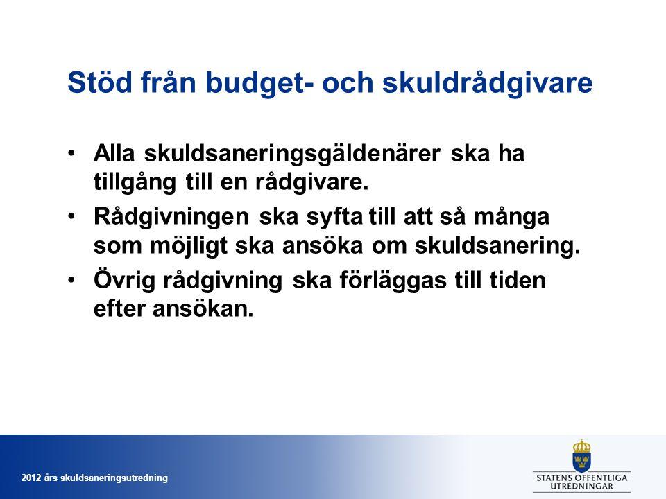 2012 års skuldsaneringsutredning Stöd från budget- och skuldrådgivare Alla skuldsaneringsgäldenärer ska ha tillgång till en rådgivare. Rådgivningen sk