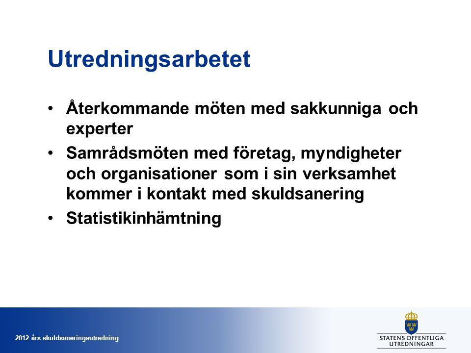 2012 års skuldsaneringsutredning Utredningsarbetet Återkommande möten med sakkunniga och experter Samrådsmöten med företag, myndigheter och organisationer som i sin verksamhet kommer i kontakt med skuldsanering Statistikinhämtning