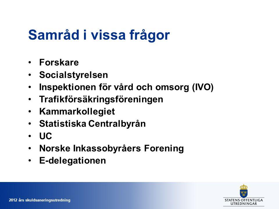 2012 års skuldsaneringsutredning Samråd i vissa frågor Forskare Socialstyrelsen Inspektionen för vård och omsorg (IVO) Trafikförsäkringsföreningen Kam