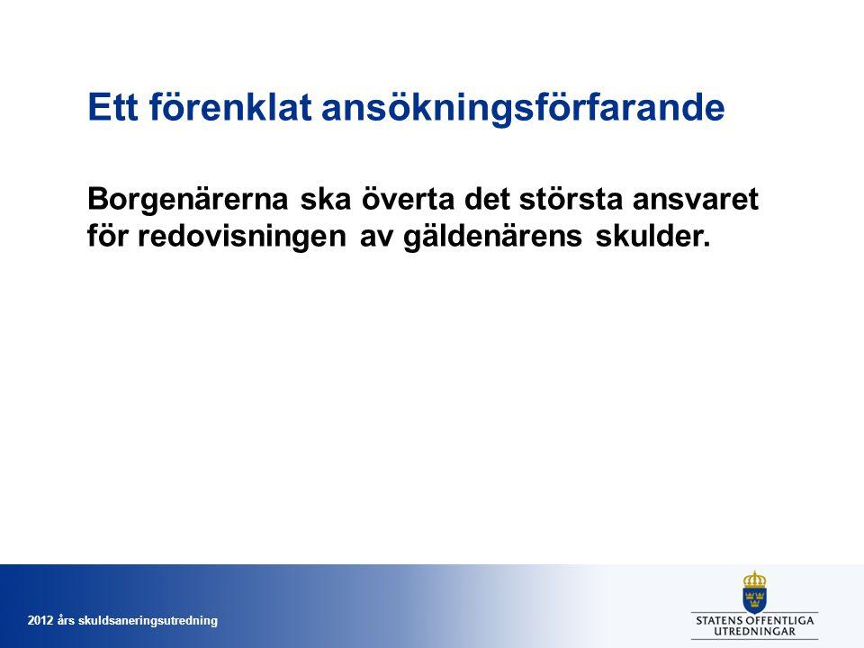 2012 års skuldsaneringsutredning Ett förenklat ansökningsförfarande Borgenärerna ska överta det största ansvaret för redovisningen av gäldenärens skulder.