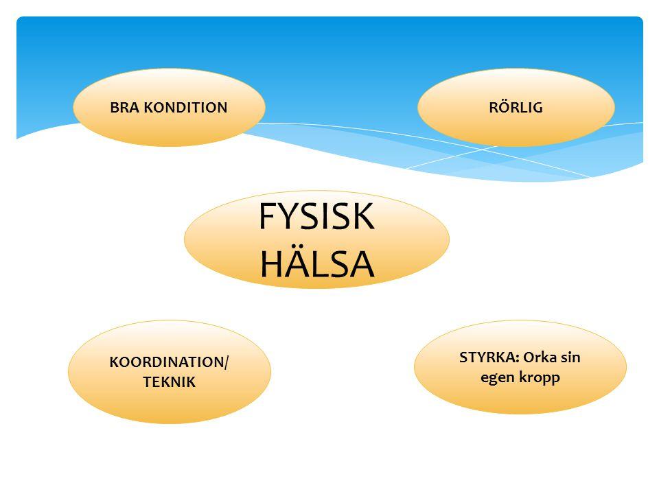 FYSISK HÄLSA BRA KONDITIONRÖRLIG STYRKA: Orka sin egen kropp KOORDINATION/ TEKNIK