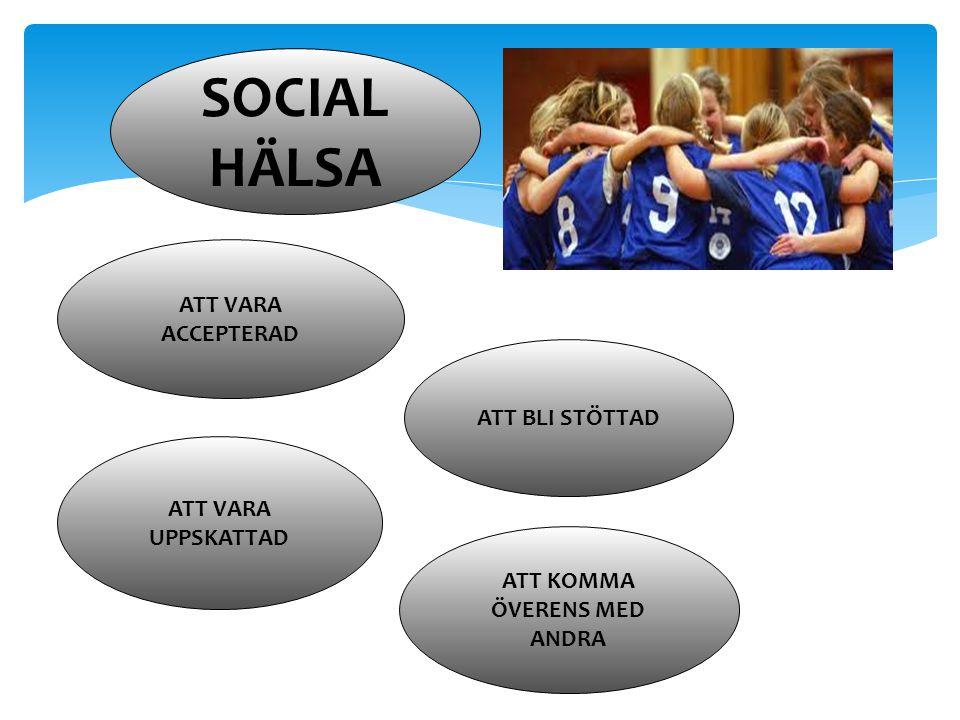 SOCIAL HÄLSA ATT VARA ACCEPTERAD ATT VARA UPPSKATTAD ATT KOMMA ÖVERENS MED ANDRA ATT BLI STÖTTAD