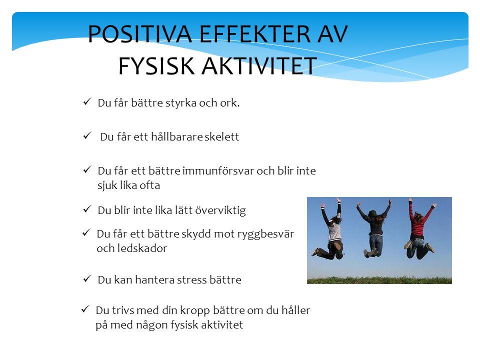 POSITIVA EFFEKTER AV FYSISK AKTIVITET Du får bättre styrka och ork. Du får ett hållbarare skelett Du får ett bättre immunförsvar och blir inte sjuk li