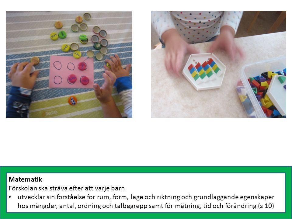 Matematik Förskolan ska sträva efter att varje barn utvecklar sin förståelse för rum, form, läge och riktning och grundläggande egenskaper hos mängder