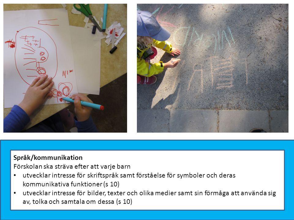 Språk/kommunikation Förskolan ska sträva efter att varje barn utvecklar intresse för skriftspråk samt förståelse för symboler och deras kommunikativa