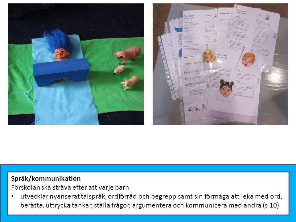 Språk/kommunikation Förskolan ska sträva efter att varje barn utvecklar nyanserat talspråk, ordförråd och begrepp samt sin förmåga att leka med ord, b