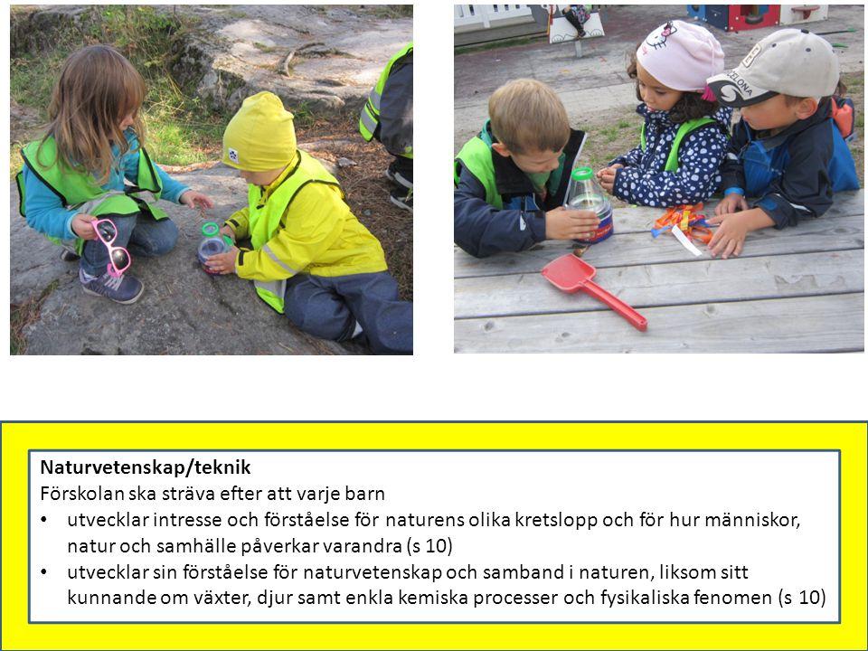 Naturvetenskap/teknik Förskolan ska sträva efter att varje barn utvecklar intresse och förståelse för naturens olika kretslopp och för hur människor,
