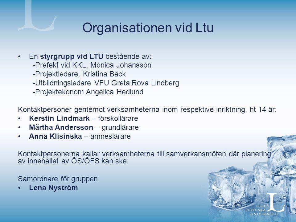 Organisationen vid Ltu En styrgrupp vid LTU bestående av: -Prefekt vid KKL, Monica Johansson -Projektledare, Kristina Bäck -Utbildningsledare VFU Gret