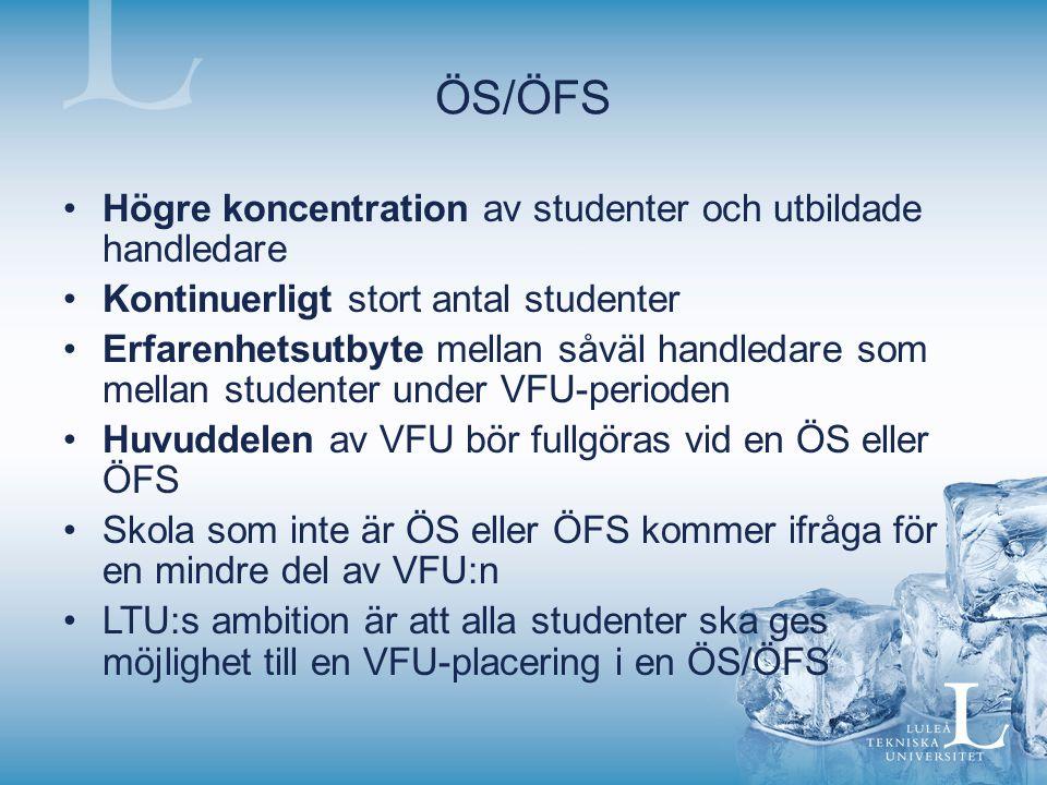 ÖS/ÖFS Högre koncentration av studenter och utbildade handledare Kontinuerligt stort antal studenter Erfarenhetsutbyte mellan såväl handledare som mellan studenter under VFU-perioden Huvuddelen av VFU bör fullgöras vid en ÖS eller ÖFS Skola som inte är ÖS eller ÖFS kommer ifråga för en mindre del av VFU:n LTU:s ambition är att alla studenter ska ges möjlighet till en VFU-placering i en ÖS/ÖFS
