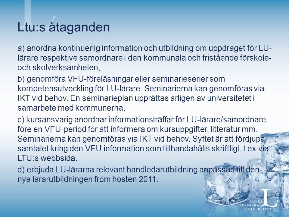 Ltu:s åtaganden a) anordna kontinuerlig information och utbildning om uppdraget för LU- lärare respektive samordnare i den kommunala och fristående förskole- och skolverksamheten, b) genomföra VFU-föreläsningar eller seminarieserier som kompetensutveckling för LU-lärare.