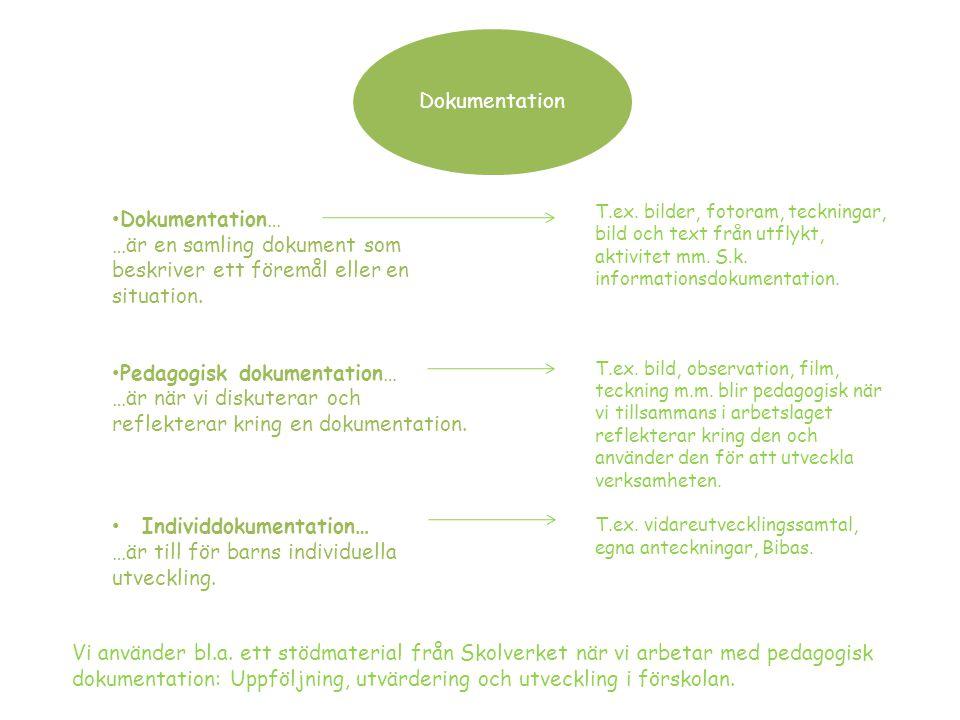 Dokumentation Dokumentation… …är en samling dokument som beskriver ett föremål eller en situation. Pedagogisk dokumentation… …är när vi diskuterar och