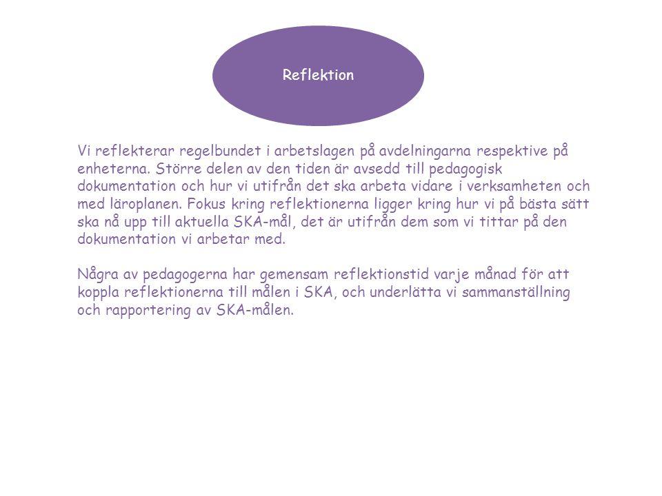 Reflektion Vi reflekterar regelbundet i arbetslagen på avdelningarna respektive på enheterna. Större delen av den tiden är avsedd till pedagogisk doku