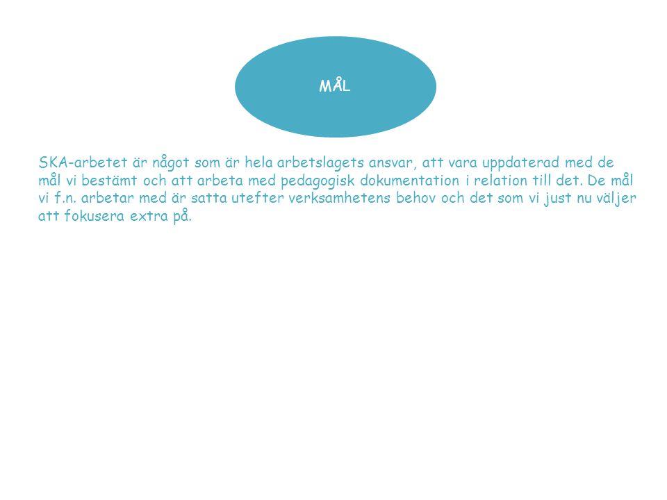 MÅL SKA-arbetet är något som är hela arbetslagets ansvar, att vara uppdaterad med de mål vi bestämt och att arbeta med pedagogisk dokumentation i rela