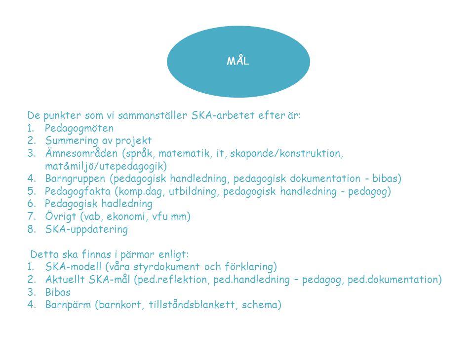 MÅL De punkter som vi sammanställer SKA-arbetet efter är: 1.Pedagogmöten 2.Summering av projekt 3.Ämnesområden (språk, matematik, it, skapande/konstru