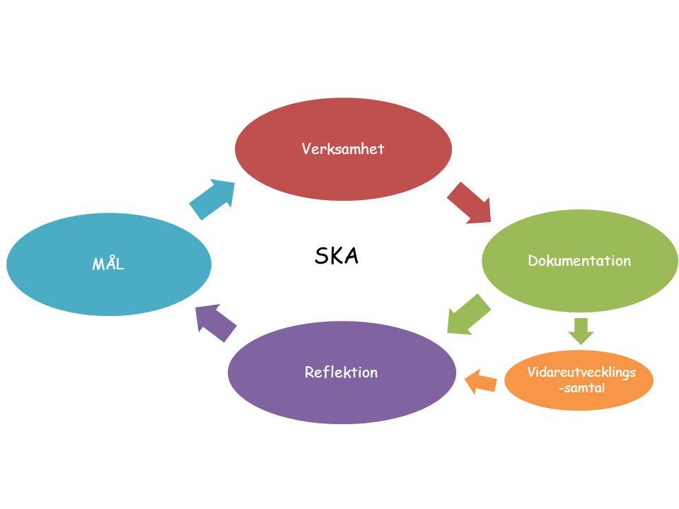 VerksamhetDokumentationReflektionMÅL Vidareutvecklings -samta l Vart ska vi? Hur blev det? SKA