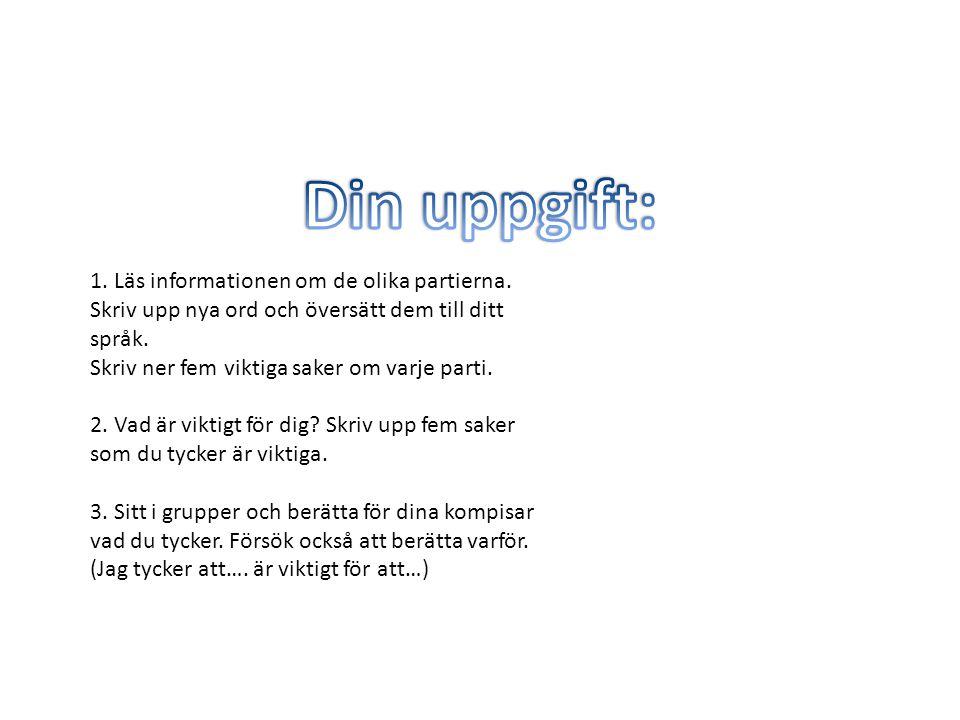 1. Läs informationen om de olika partierna. Skriv upp nya ord och översätt dem till ditt språk. Skriv ner fem viktiga saker om varje parti. 2. Vad är