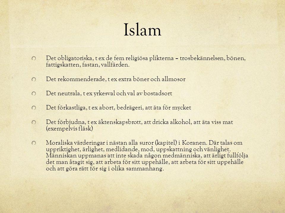 Islam Det obligatoriska, t ex de fem religiösa plikterna – trosbekännelsen, bönen, fattigskatten, fastan, vallfärden. Det rekommenderade, t ex extra b