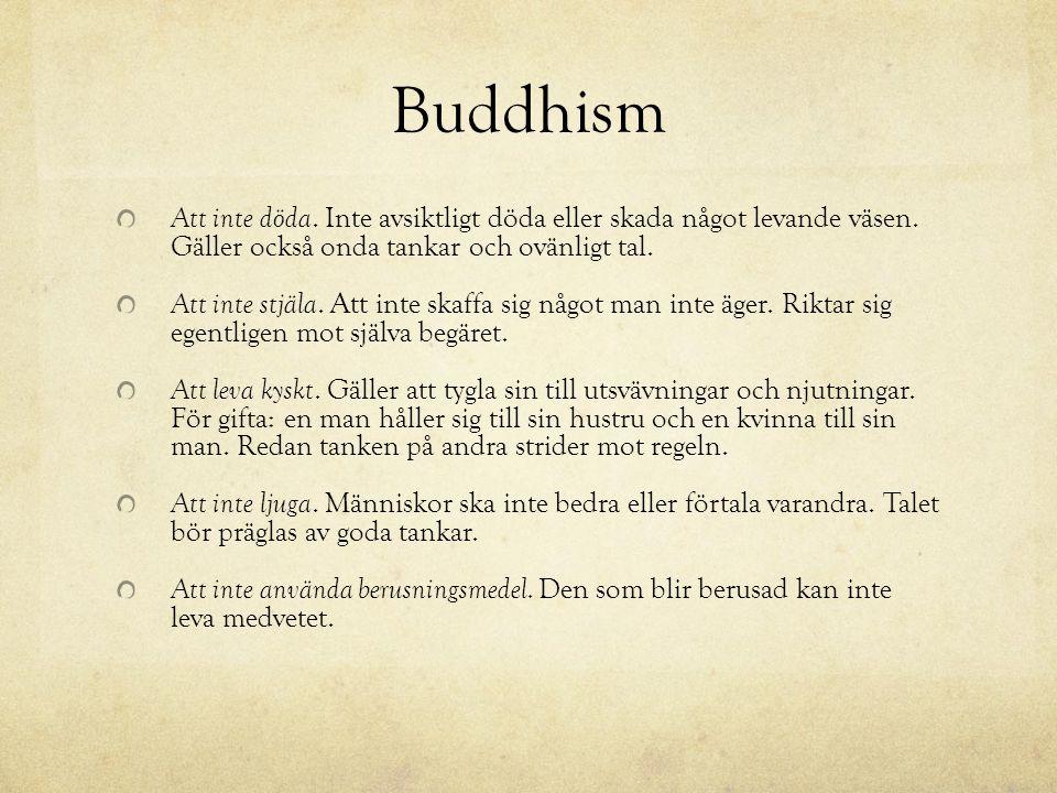 Buddhism Att inte döda. Inte avsiktligt döda eller skada något levande väsen. Gäller också onda tankar och ovänligt tal. Att inte stjäla. Att inte ska