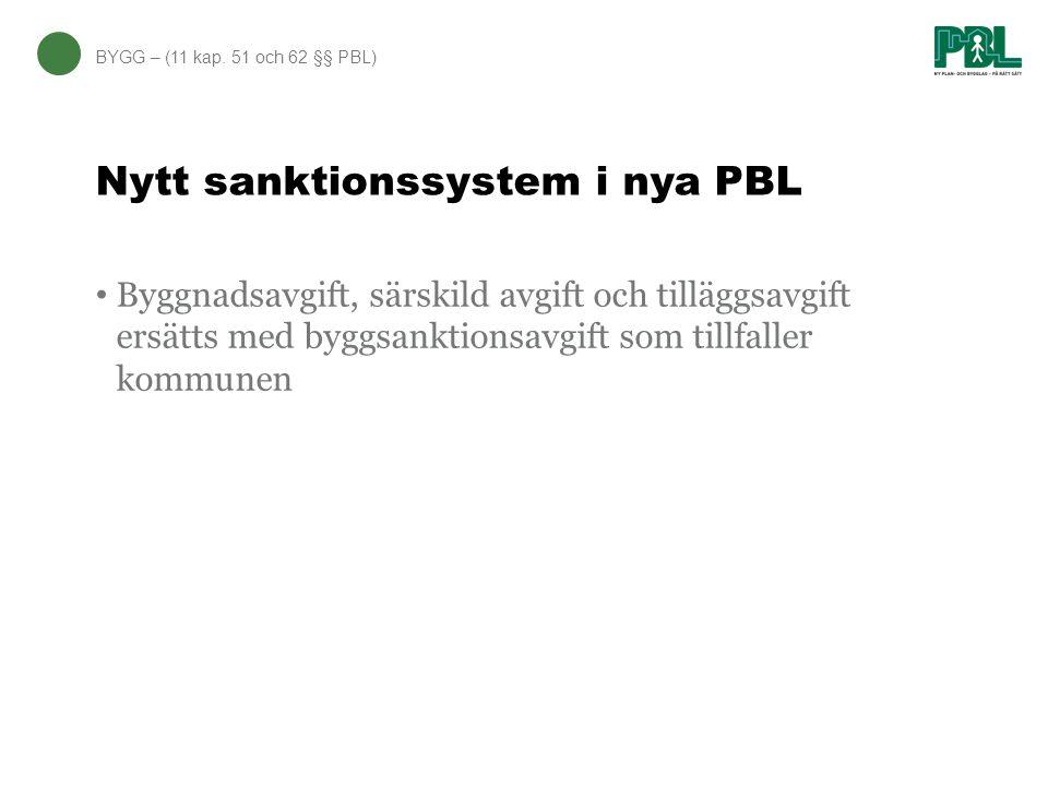 Nytt sanktionssystem i nya PBL BYGG – (11 kap. 51 och 62 §§ PBL) Byggnadsavgift, särskild avgift och tilläggsavgift ersätts med byggsanktionsavgift so