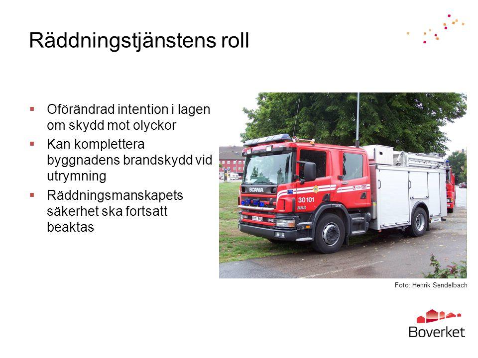 Räddningstjänstens roll  Oförändrad intention i lagen om skydd mot olyckor  Kan komplettera byggnadens brandskydd vid utrymning  Räddningsmanskapet