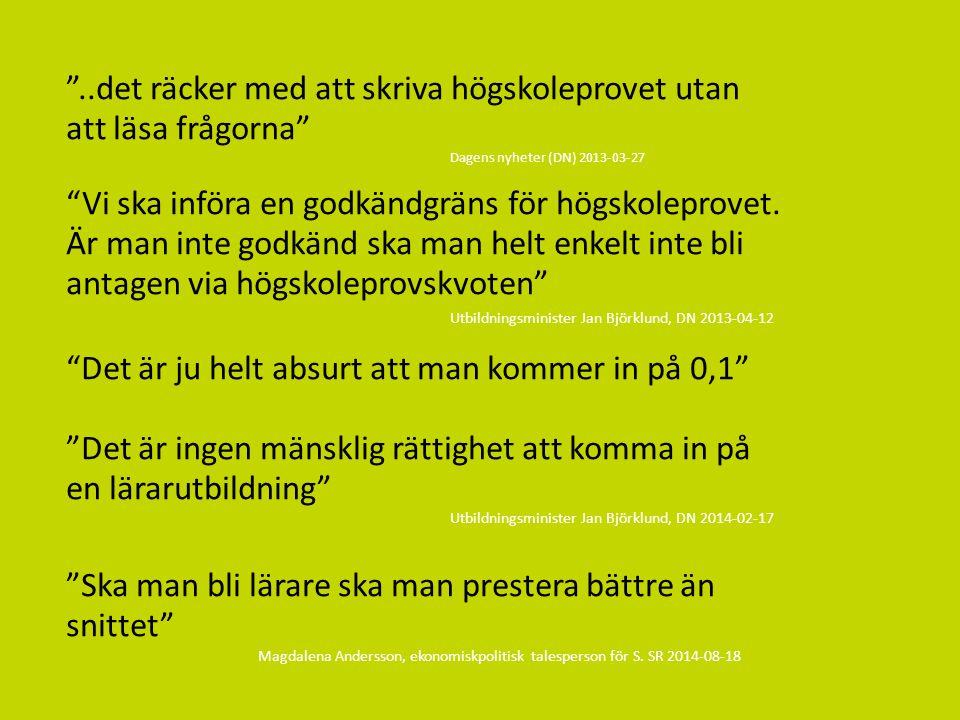 Sv Nu införs en lägsta gräns för högskoleprovet – vad innebär det? 2014-09-23 Mattias Wickberg