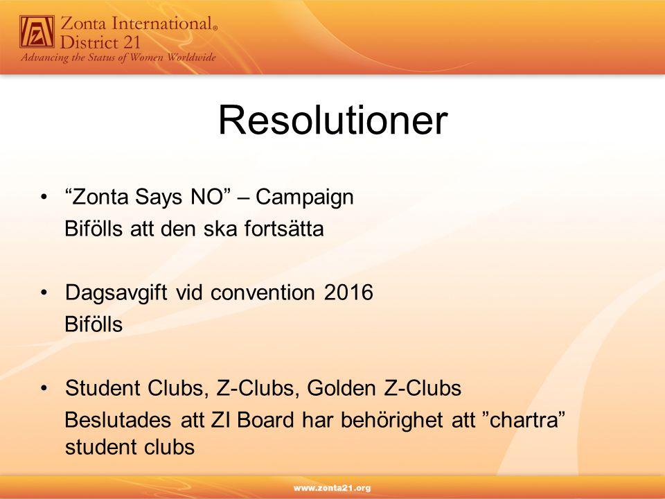 "Resolutioner ""Zonta Says NO"" – Campaign Bifölls att den ska fortsätta Dagsavgift vid convention 2016 Bifölls Student Clubs, Z-Clubs, Golden Z-Clubs Be"