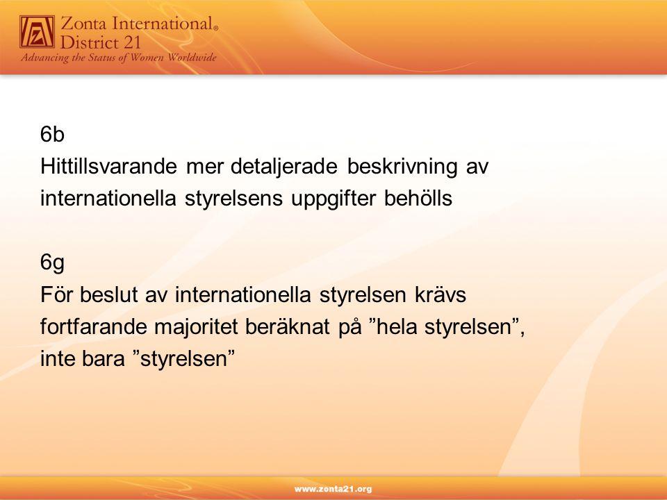 6b Hittillsvarande mer detaljerade beskrivning av internationella styrelsens uppgifter behölls 6g För beslut av internationella styrelsen krävs fortfa
