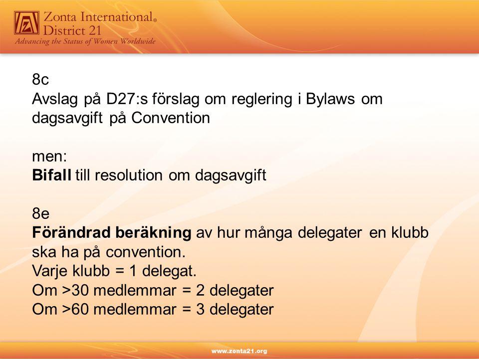 8c Avslag på D27:s förslag om reglering i Bylaws om dagsavgift på Convention men: Bifall till resolution om dagsavgift 8e Förändrad beräkning av hur m