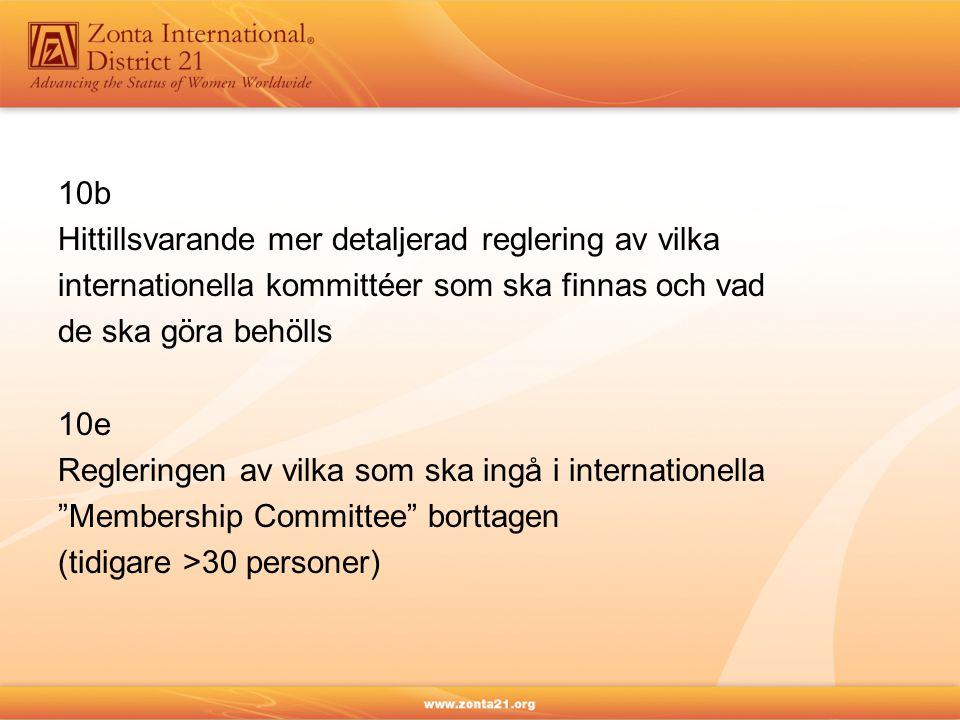 10b Hittillsvarande mer detaljerad reglering av vilka internationella kommittéer som ska finnas och vad de ska göra behölls 10e Regleringen av vilka s