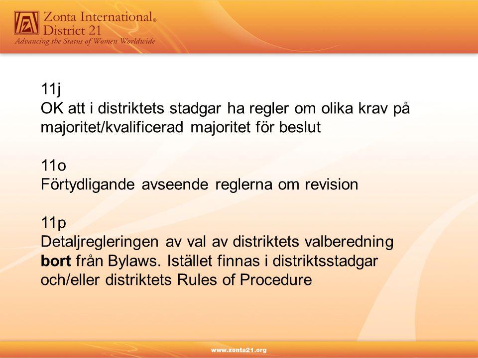 11j OK att i distriktets stadgar ha regler om olika krav på majoritet/kvalificerad majoritet för beslut 11o Förtydligande avseende reglerna om revisio