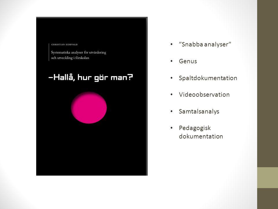 Snabba analyser Genus Spaltdokumentation Videoobservation Samtalsanalys Pedagogisk dokumentation